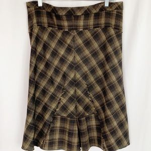 BCBGMaxAzria Brown Plaid Midi Skirt Sz 10